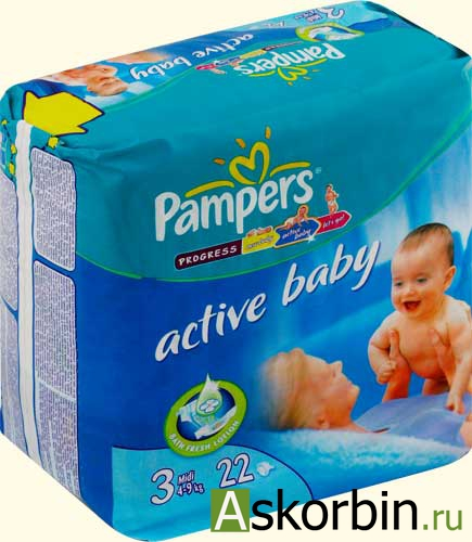 Памперс подгузники Active Baby (3) 4-9кг 22шт, фото 1