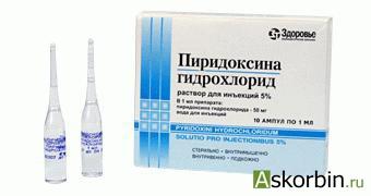 пиридоксина г/хл 5% 1мл 10 амп, фото 1
